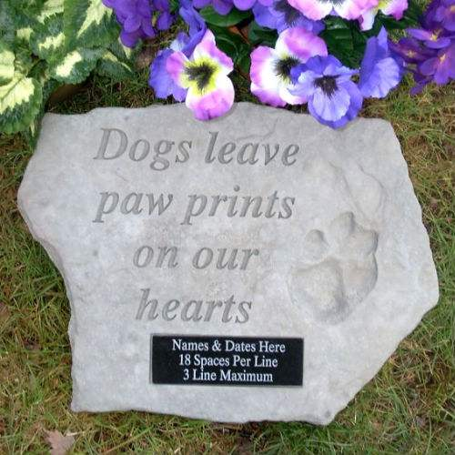 Dog stones pet stones pet memorial stone pet grave marker dogs leave paw prints garden stone personalized enlarge image workwithnaturefo