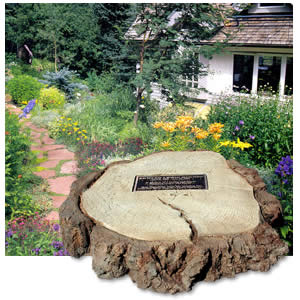 Old Grove Tree Trunk w/ Bronze Plaque. Personalized