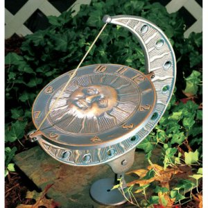 Sun and Moon Sundial - Copper Verde