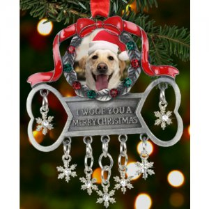 I Woof You a Merry Christmas Dog Photo Ornament