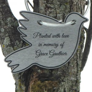 "Tree Charm™ - DOVE Shaped ""Charmlet."" Personalized"