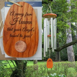 "Medium ""ANGEL TOSSED A PENNY"" Amazing Grace Chime. Personalized"