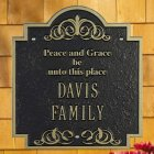 Peace and Grace Family House Plaque. Personalized