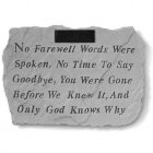 No Farewell Words Garden Stone. Personalized