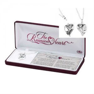 Reunion Heart Memorial Urn Necklace - Silver Plated