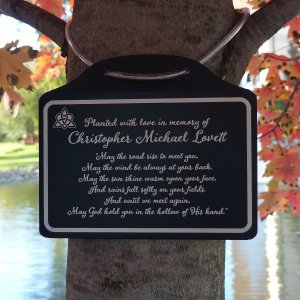 Tree Charm™ - Irish Blessing Tree Memorial Marker. Personalized