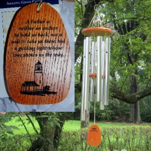 "Medium ""FATHER'S LIGHTHOUSE GUIDES THE WAY"" Chime. Personalized"