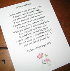 Optional Poem Card Enclosuresympathy Gift Memorial