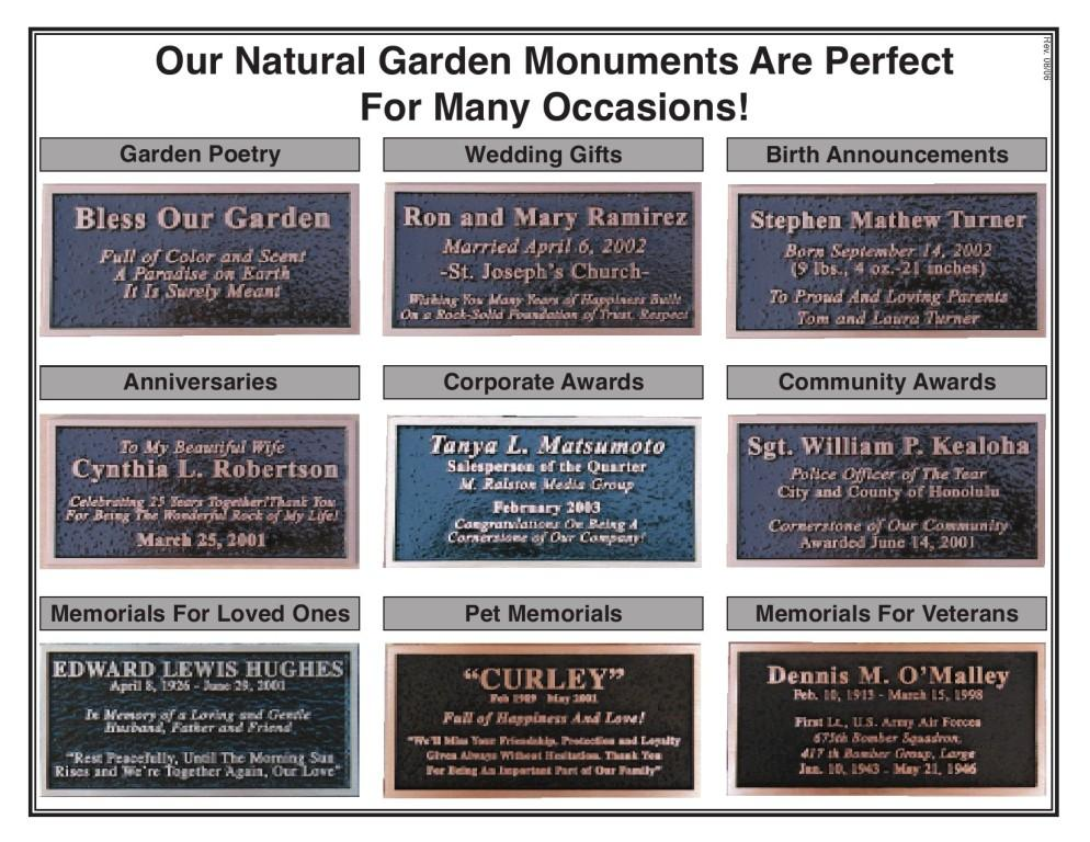 To See Examples Of Bronze Plaques Click Here